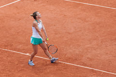 Simona Halep at Roland Garros. Simona Halep playing at the French Open - Roland Garros Stade. Paris, France Royalty Free Stock Photo