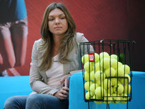 Simona Halep. Romanian tennis player Simona Halep, pictured at a press conference, in Bucharest, Romania, April 09th 2015 Royalty Free Stock Image