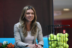 Simona Halep. Romanian tennis player Simona Halep, pictured at a press conference, in Bucharest, Romania, April 09th 2015 Royalty Free Stock Photography