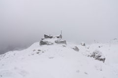 Simony Hut. The Simony Hut in snowy weather. The hut is near the Hoher Dachstein in Austria, the second highest mountain in the Northern Limestone Alps. The Stock Image