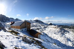 Simony Hut. The Simony Hut near the Hoher Dachstein in Austria, the second highest mountain in the Northern Limestone Alps. The Hallstatt-Dachstein region is Royalty Free Stock Photos