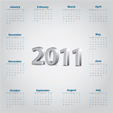 Simple 2011 calendar with metallic 3d text Stock Image