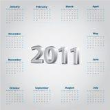 Simple 2011 Calendar With Metallic 3d Text Stock Image