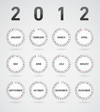 Simple 2012 calendar. With month visualized at flying circles Stock Image