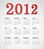 Simple 2012 calendar. With 2012 written in 3d letters. Weeks starts on sunday Stock Photos