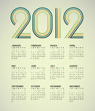 Simple 2012 calendar. Simple 2012  calendar with a green and yellow striped headline Stock Images