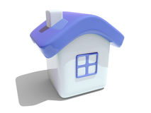 Simple 3D house with blue roof. Illustration of an isolated house with blue roof and window on white background Stock Photo
