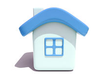 Simple 3D house with blue roof. Front view  of an isolated 3d house with blue roof and window on white background Stock Image