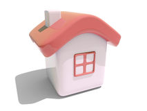 Simple 3D house with red roof. Illustration of an isolated house with red roof and window on white background vector illustration