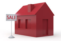 Simple 3D House for sale Royalty Free Stock Photo