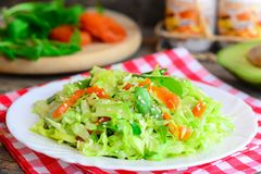 Simple сabbage salad with avocado. Home cabbage salad avocado, dried apricots, arugula and sesame on a plate and on a wooden tabl Stock Photos