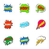 Simple abbreviations speech bubbles icons set. Cartoon set of 9 simple abbreviations speech bubbles vector icons for web  on white background Stock Photos