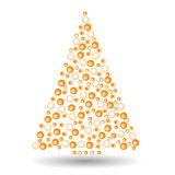 Simple abstract christmas tree of circles. Orange and white abstract fir tree. Black  illustration Royalty Free Stock Photography