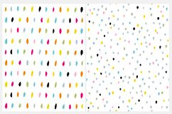 Cute Multicolor Brush Dots on a White Background. Funny Colorful Infantile Style Layouts. Simple Abstract Geometric Vector Pattern. Lovely Hand Drawn Irregular stock illustration