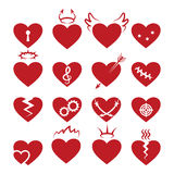 Simple abstract heart shapes icons. Vector burned and broken, pierced by arrow, keyhole hearts signs. Simple abstract heart shapes icons. Vector burned and Stock Image