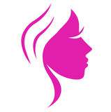 Simple abstract pink beauty woman face.