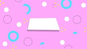 Simple abstract pink background with trendy geometric color retro elements. Looped motion graphic. royalty free illustration