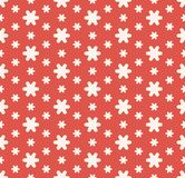 Simple abstract red and white floral seamless pattern. Vector geometric texture stock illustration