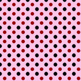 Simple abstract seamless background with polka dots. Simple abstract square seamless background with black and wine red polka dots over pink Stock Photos
