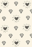 Simple abstract  seamless pattern with hearts and diamonds. Vector Stock Image
