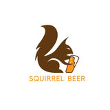 Simple abstract squirrel with beer glass vector design. Template Stock Photos