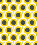 Simple abstract  sunflower pattern. Doodle seamless background. Cute wallpaper. Stock Images