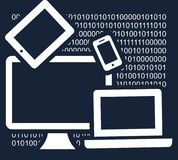 Simple abstract vector dark  backdrop - information technology concept. Mobile phone, tablet, laptop, computer on the background of binary code Stock Photo