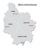 Simple administrative map of Burgundy Royalty Free Stock Photography