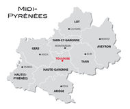 Simple administrative map Midi-Pyrenees Stock Photo