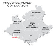 Simple administrative map Provence-Alpes-Cote d'Azur Royalty Free Stock Images