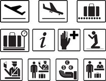 Simple airport 2d icons vector set. Universal airport icons to use for information , airline , departure , arrival , flight , gate royalty free stock photography