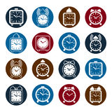 Simple alarm clocks with clock bell, decorative wake up icons co Royalty Free Stock Photos