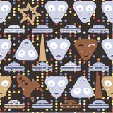 Simple aliens and UFO in vintage style, vector seamless pattern Stock Image