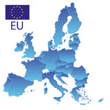 Simple all european union countries in one blue map with borders eps10. Simple all european union countries in one blue map with borders Royalty Free Stock Photo