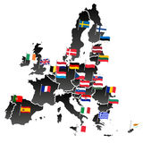Simple all european union countries in one map with flags eps10 Stock Images