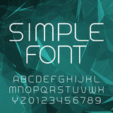 Simple alphabet vector font in outline style. Thin line letters and numbers on a polygonal background. Royalty Free Stock Photography