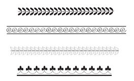 Simple ancient greek border patterns. Classical Greek style simple border designs drawn in black on white background Stock Photography