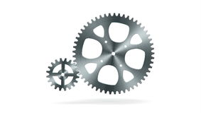 Simple animation of two gear wheels in grey colors stock footage