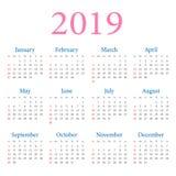 Simple annual calendar 2019 vector illustration