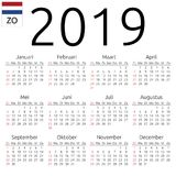 Calendar 2019, Dutch, Sunday. Simple annual 2019 year wall calendar. Dutch language. Week starts on Sunday. Highlighted Sunday, no holidays. EPS 8 vector Stock Photography
