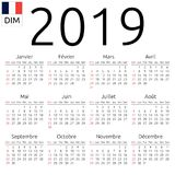 Calendar 2019, French, Sunday. Simple annual 2019 year wall calendar. French language. Week starts on Sunday, Canada. Sunday highlighted. No holidays highlighted Royalty Free Stock Photo