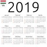Calendar 2019, Hungarian, Sunday. Simple annual 2019 year wall calendar. Hungarian language. Week starts on Sunday. Sunday highlighted. No holidays highlighted Royalty Free Stock Photography