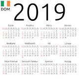 Calendar 2019, Irish, Sunday. Simple annual 2019 year wall calendar. Irish language. Week starts on Sunday. Highlighted Sunday, no holidays. EPS 8 vector Royalty Free Stock Photos