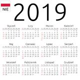Calendar 2019, Polish, Sunday. Simple annual 2019 year wall calendar. Polish language. Week starts on Sunday. Highlighted Sunday, no holidays. EPS 8 vector Royalty Free Stock Image