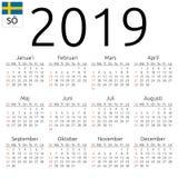 Calendar 2019, Swedish, Sunday. Simple annual 2019 year wall calendar. Swedish language. Week starts on Sunday. Highlighted Sunday, no holidays. EPS 8 vector Royalty Free Stock Images