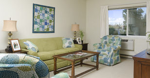 Simple Apartment in greens. A simple apartment in a retirement home decorated in blues and greens Royalty Free Stock Images