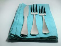 Simple aqua place setting Stock Photos