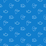 Simple aquarium fish blue pattern. Vector seamless background Stock Photography