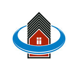 Simple architectural construction, house abstract vector symbol, Stock Images