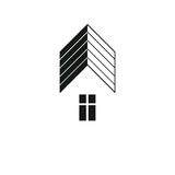 Simple architectural construction, vector house abstract symbol, Royalty Free Stock Images
